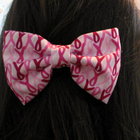 Breast Cancer Awareness Ribbon Hair Bow with French Barrette