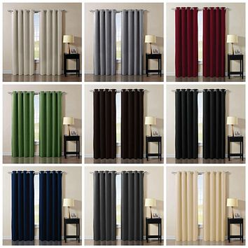 Solid Grommet Thermal Insulated Blackout Curtain Window Panel