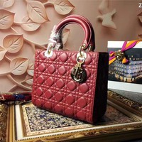 Ready Stock Dior Women's Five Lattice Leather Handbag Shoulder Bag #67