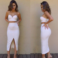 CUTE TWO PIECE STRAPLESS DRESS