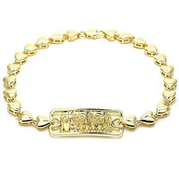 Gold Layered 03.63.1855.10 Fancy Anklet, Tree and Heart Design, Polished Finish, Golden Tone