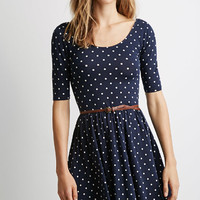 Polka Dot Midi Dress with Belt