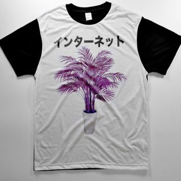 PURPLE DRANK PLANT internet yin-yang cyber punk kawaii pastel goth tumblr club kid rave grunge japanese ghetto thisrty edit 90s t-shirt