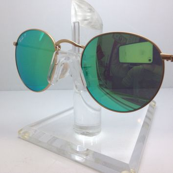 New Ray Ban Sunglasses RB 3447 112/P9 rb3447 MATTE GOLD/GREEN MIRROR POLARIZED