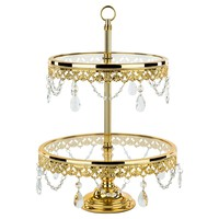 2-Tier Shiny Metallic Glass Top Crystal Dessert Cupcake Stand (Gold Plated)