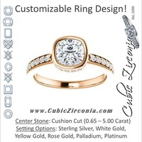 Cubic Zirconia Engagement Ring- The Monaco (Customizable Vintage Cushion Cut Design with Crown-inspired Under-halo Trellis and Pavé Band)