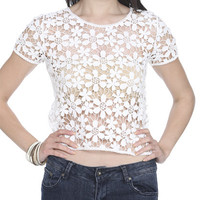 Crochet Daisy Pattern Tee | Shop Tops at Wet Seal