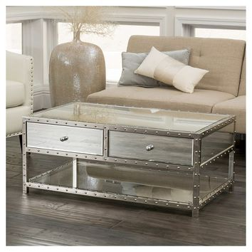 Jade Mirrored Coffee Table Silver - Christopher Knight Home