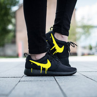 Nike Roshe Triple Black with Custom Yellow Candy Drip Swoosh Paint