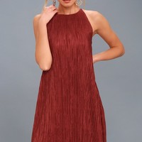 Olivia Rust Red Pleated Swing Dress