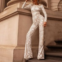 2018 white lace jumpsuit women 2018 elegant Sexy Party Club Boho Playsuit Bodycon Jumpsuits Skinny Romper Overalls For Women
