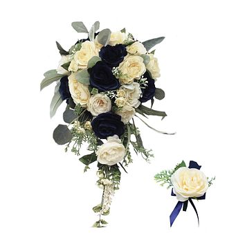 Cascade Bouquet or Boutonniere - Navy Blue, Light Champagne, with Greenery Rose with Eucalyptus Rustic Wedding