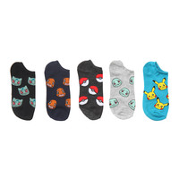 Pokemon Allover Print No-Show Socks 5 Pair