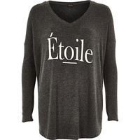 River Island Womens Grey soft jersey etoile print swing top