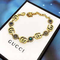 GUCCI Newest Retro Woman Men Flower Diamond Hand Catenary Bracelet Accessories Jewelry