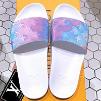 LV Shoes Louis Vuitton Slippers Flat Sandals Laser Monogram Sky blue Light Purple Shoes