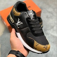 LV Louis Vuitton leather stitching retro fashion sneakers shoes