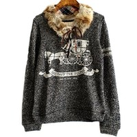 MapleClan Vintage Carriage Print Loose Tee With Detachable Rabbit fur collar