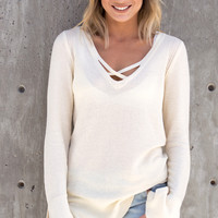 Eviana Cross Front Knit Top - Cream