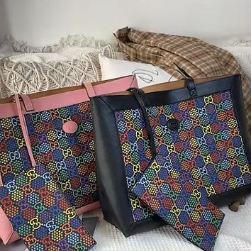 Gucci x DISNEY Joint Leather Handbag Shoulder Bag Shopping Bag Two-Piece Set
