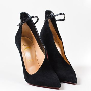 PEAP Christian Louboutin Black Suede Cutout   Vampydoly   120mm Stiletto Pumps