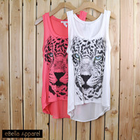 Leopard Face - Women's Flowy High Low Coral/White, Graphic Stone Print Tank Top