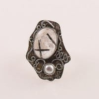 Tourmalinated Quartz & Pearl Two Tone Sterling Silver Ring