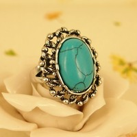 High Quality Fashion Alloy Costume Jewellery Ring For Women Vintage Style Oval Turquoise Ring US 7 Blue