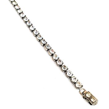 Mid century clear rhinestone tennis bracelet bright single strand pin up 1950's