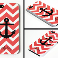 iPhone 5 Cell Phone Case Chevron Stripe Anchor Apple Custom Color Personalized Name Monogram Protective White Plastic Hard Cover VM-1001