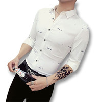 Men Stripped Dress Shirts Hombre Camisa Masculina Chemise Homme Men's Casual Slim Fit Long Sleeved Shirts SM6