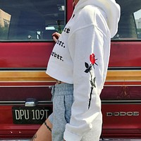 Hoodies Tops Winter Long Sleeve Print Alphabet Crop Top Hats [11980274191]