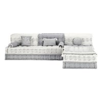 6 seater cotton modular corner day bed in grey and white Goa | Maisons du Monde