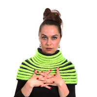 Neon Hand Knitted Cape Tribal Inspired with a Turtleneck Cowl by Solandia, fashion knitting accessories, club style, fall winter clothing