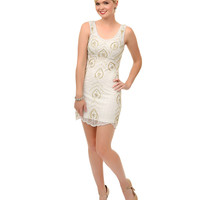 1920s Style Ivory & Gold Sequin Hand Beaded Marion Flapper Short Dress