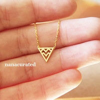 Chevron Triangle Charm Necklace, Hipster Necklace, Dainty Jewelry, Arrow Necklace, Tiny Arrow Necklace, Gift Ideas, Holiday Gifts