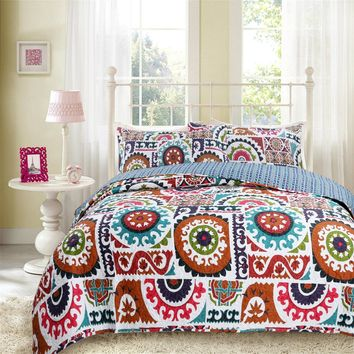 DaDa Bedding Bohemian Floral Wildfire Gardens Colorful Quilted Coverlet Bedspread Set (SD3553)