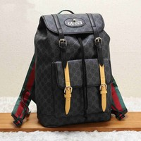 GUCCI Trending Leather School Bag Bookbag Backpack Black