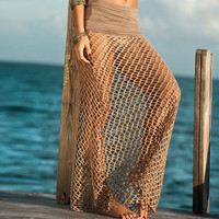 Crochet Maxi Skirts Long Beach Cover Up Beach Wrap Dress