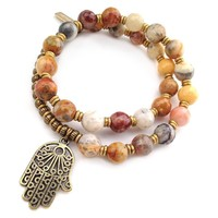 Happiness, Crazy Lace Agate 27 Bead Mala Wrap Bracelet