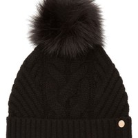 Ted Baker London Cable Knit Beanie with Faux Fur Pom | Nordstrom