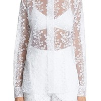 Carven Floral Embroidery Organza Blouse | Nordstrom