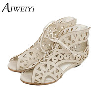 Big Size 34-43 Fashion Cutouts Lace Up Women Sandals Open Toe Low Wedges Yellow Black White Summer Shoes