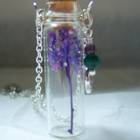Glass Vial Necklace Glass Bottle Necklace  Make a Wish Necklace with Purple Flower - 20 inches