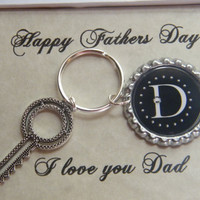 Mens Key Chain , Fathers Day Gift , Personalized Key Chain , Black Monogrammed Key Ring