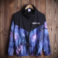 Comfortable Couple Unisex Superme Galaxy Hooded Jacket Lightweight Outwear
