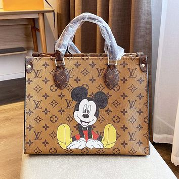Hipgirls Louis Vuitton LV Cartoon Mickey Mouse Printed Tote Bag Shoulder Bag
