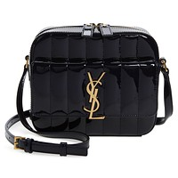 Saint Laurent YSL Vicky Black Patent Quilted Leather Monogram Camera Bag 555052