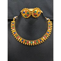 Oval kemp stone embedded Choker Necklace and stud Earring set