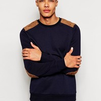 New Look | New Look Sweatshirt with Suede Patch at ASOS